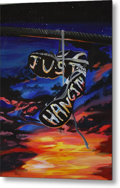 Shoes Powerline Sky Clouds Sneakers Primary Colors Just Hanging Shoelace Metal Print featuring the painting Just Hanging by Mackenzie Ring