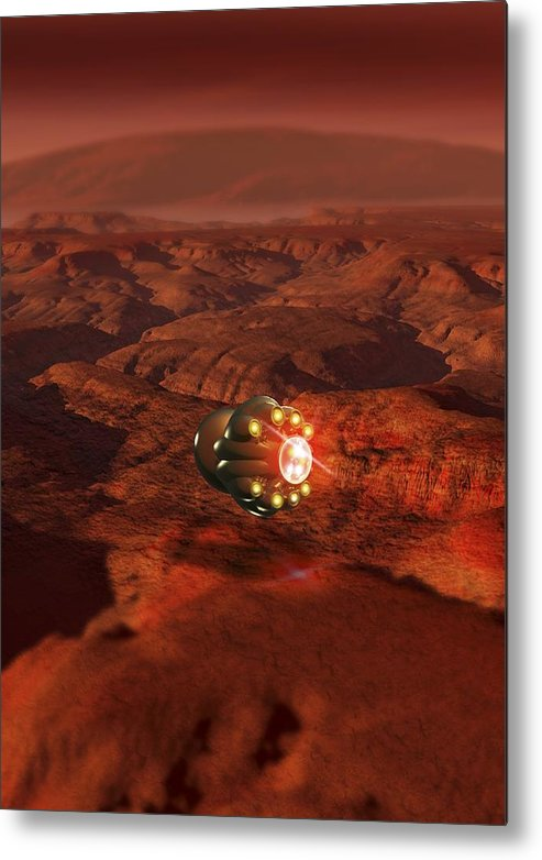 Vertical Metal Print featuring the digital art Mars Probe, Conceptual Artwork by Victor Habbick Visions
