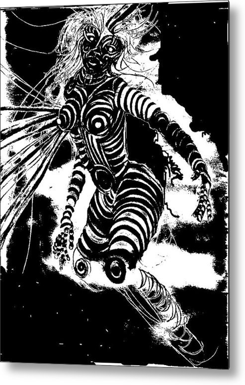 Digital Art Metal Print featuring the painting Negative Contours by Ramona Hartley