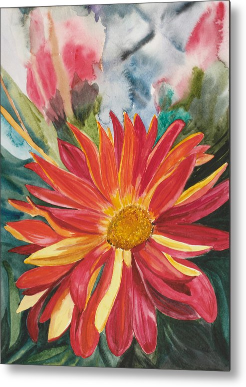 Flower Metal Print featuring the painting Red Red Red by Judy Loper