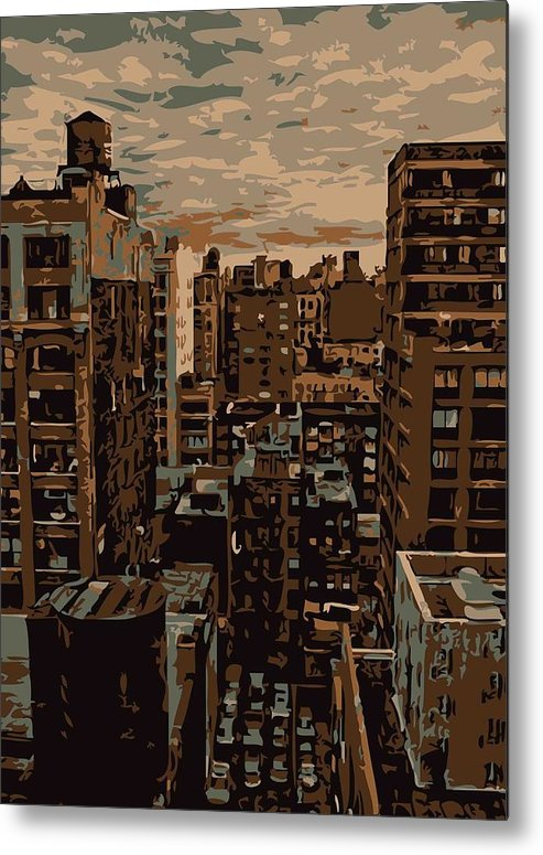 New York City Rooftop Metal Print featuring the photograph Rooftop Color 6 by Scott Kelley