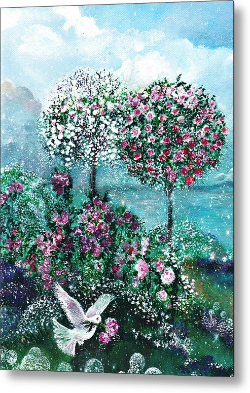 Metal Print featuring the painting Roses For Maria by Milenka Delic