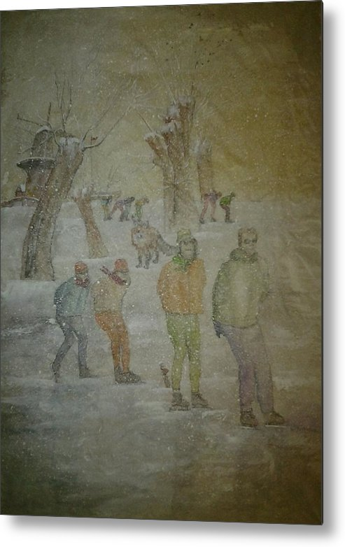 Ice Skaters. Landscape. The Netherlands. Winter. Snow. Figures. Red Fox. Metal Print featuring the painting Silent Stalker With Sly Fox by Debbi Saccomanno Chan