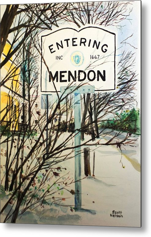 Mendon Ma Metal Print featuring the painting Snow Day by Scott Nelson
