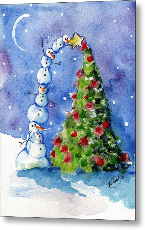 Christmas Tree Metal Print featuring the painting Snowman Christmas Tree by Sylvia Pimental