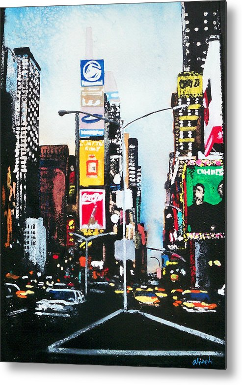 Times Square Metal Print featuring the painting Times Square Nyc by Ann Marie Napoli