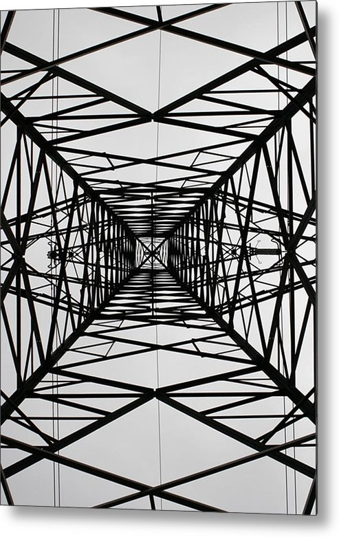Pylon Metal Print featuring the photograph Vertical Voltages by Stephen Bowden
