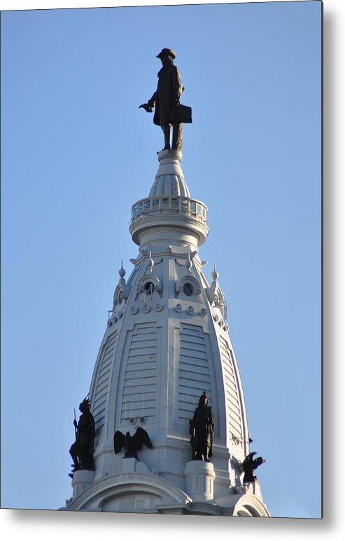 William Penn Metal Print featuring the photograph William Penn - On Top Of City Hall by Bill Cannon