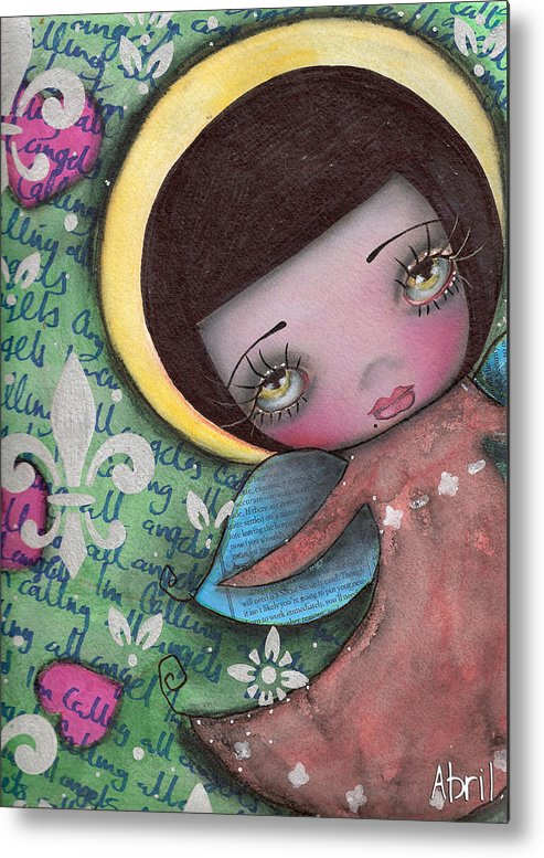 Angel Metal Print featuring the painting Angel Girl by Abril Andrade Griffith