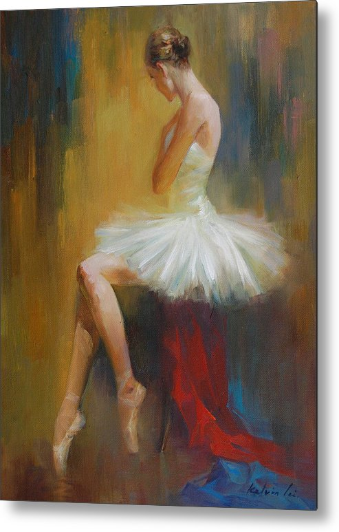 Figuratives Metal Print featuring the painting Ballerina E by Kelvin Lei