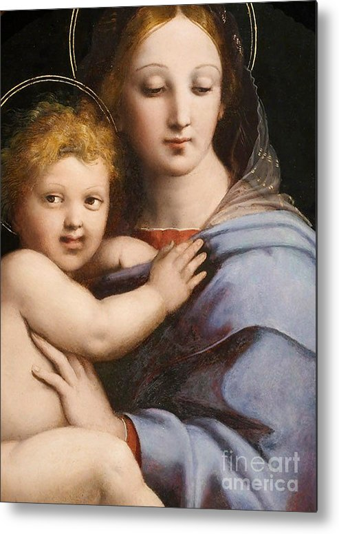 Raphael Metal Print featuring the painting Madonna Of The Candelabra by Raphael