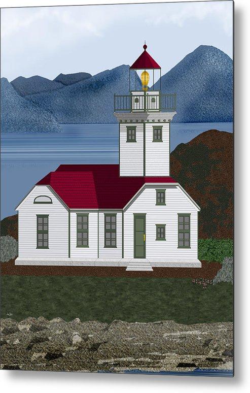 Patos Island Lighthouse Metal Print featuring the painting Patos Island Lighthouse by Anne Norskog