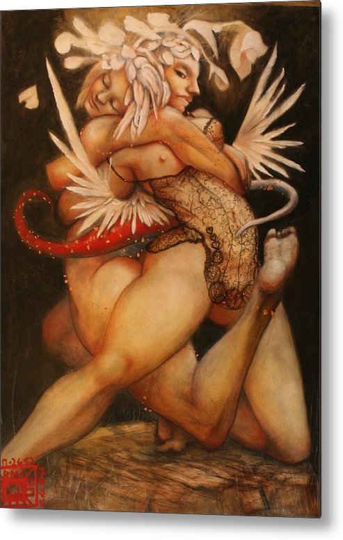 Obama Ralph Nixon Jr Embrace Of The Virgosis Metal Print featuring the painting Embrace Of The Virgosis by Ralph Nixon Jr