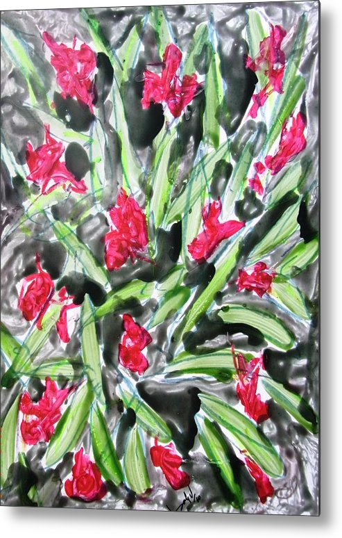 Abstract Metal Print featuring the painting Divine Flowers by Baljit Chadha