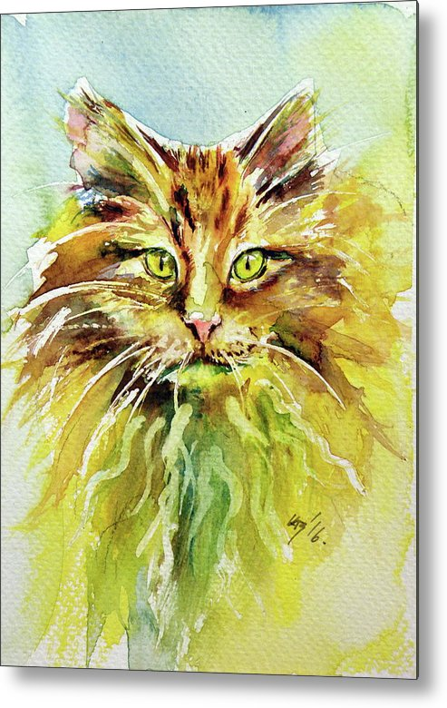 Cat Metal Print featuring the painting Cat by Kovacs Anna Brigitta