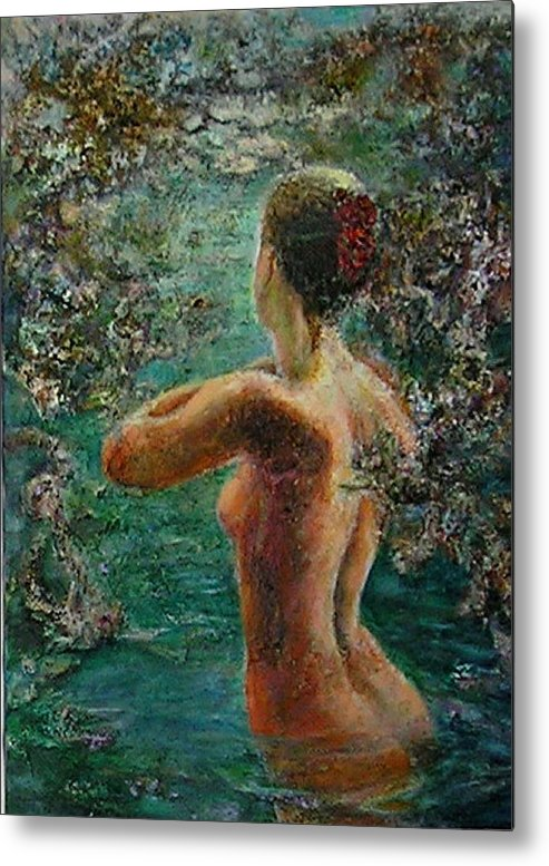Figurative Metal Print featuring the painting A Girl In Lake by Sylva Zalmanson