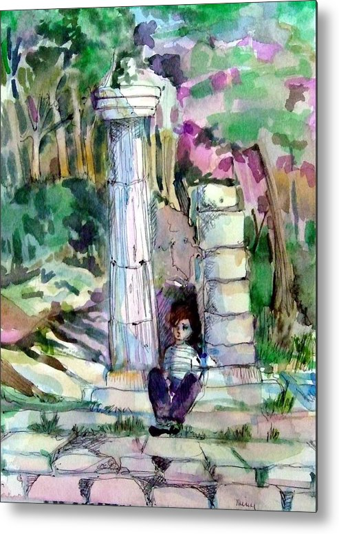 Watercolor Metal Print featuring the painting A Man In Ruins by Mindy Newman