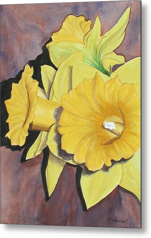 Fine Art Metal Print featuring the painting After The Tulips by Robert Thomaston