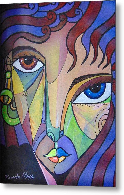 Portrait. Cubism Pop Woman Face Art Deco Metal Print featuring the painting Alexandra by Ricardo Maya