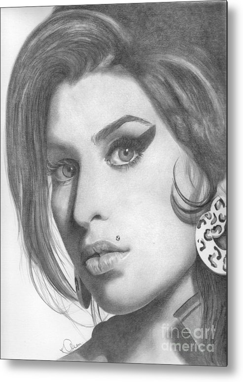 Amy Winehouse Metal Print featuring the drawing Amy Winehouse by Karen Townsend