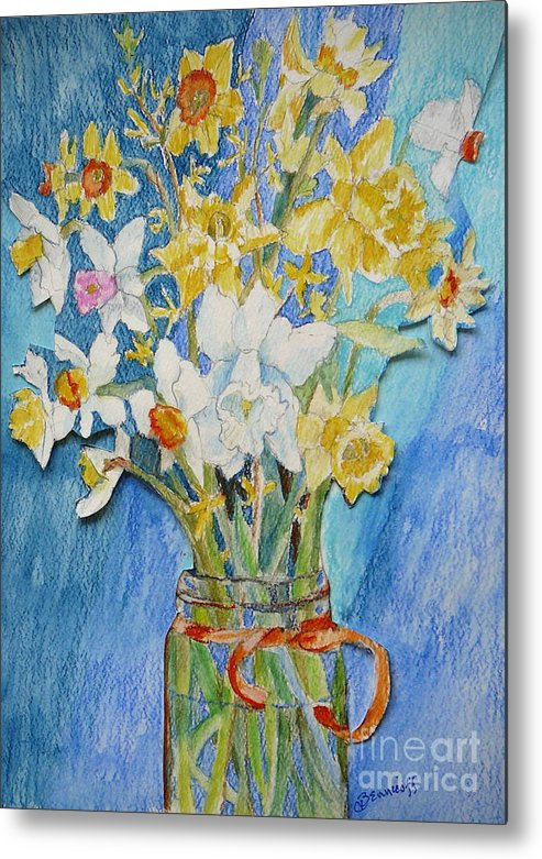 Flowers Metal Print featuring the painting Angels Flowers by Jan Bennicoff