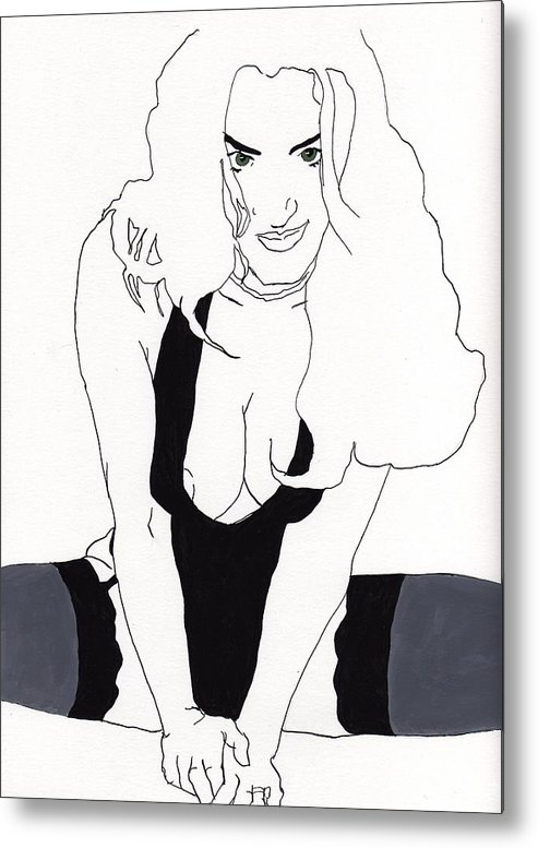 Portrait Metal Print featuring the drawing Anna-black Stockings by Stephen Panoushek