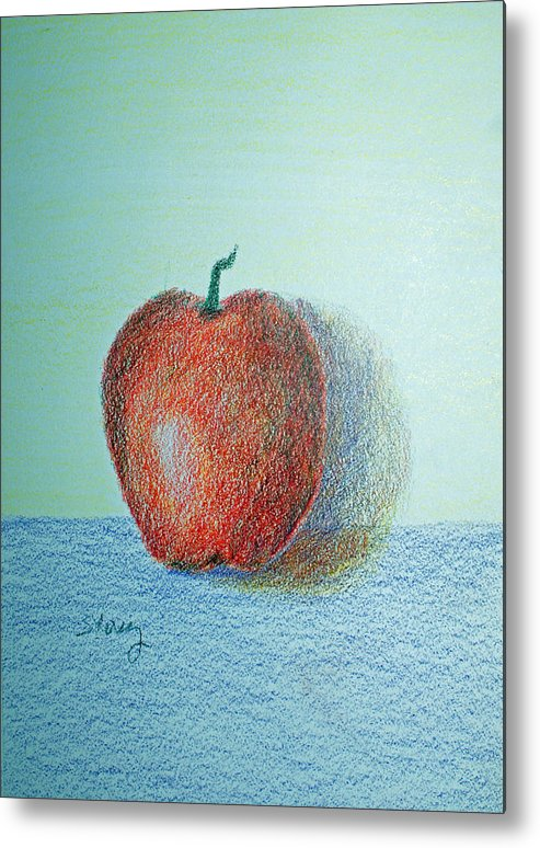 Fruit Metal Print featuring the drawing Apple by Tina Storey