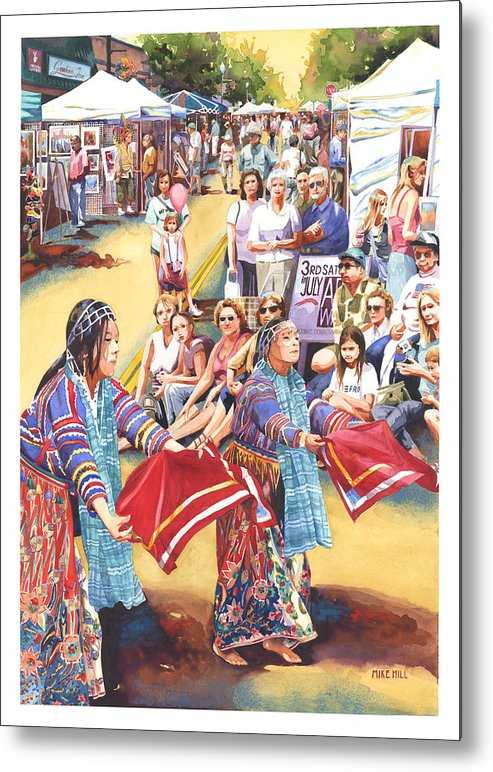Dancer Watercolor Art Walk Show Street Asian Chinese China Tents Realism  Metal Print featuring the painting Art Walk by Mike Hill