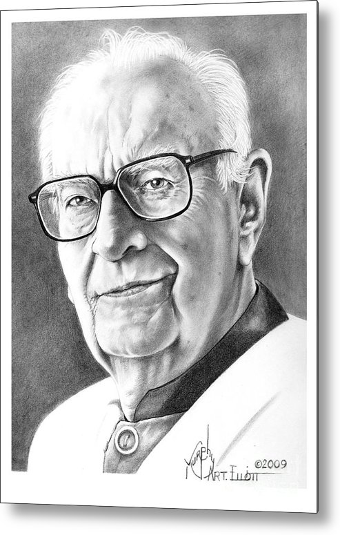 Portrait Metal Print featuring the drawing Arthur C. Clarke by Murphy Elliott