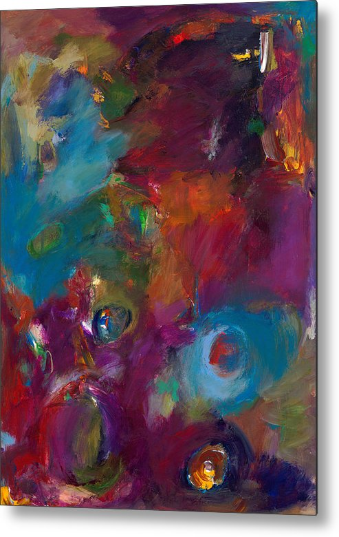 Abstract Expressionistic Artwork Metal Print featuring the painting Aubergine Mist by Johnathan Harris