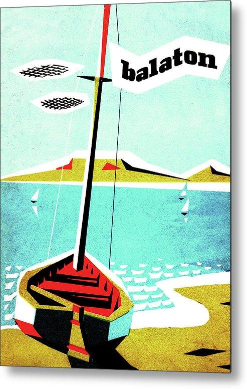 Balaton Lake Metal Print featuring the painting Balaton Lake, Hungary, Fishing Boat On The Coast by Long Shot