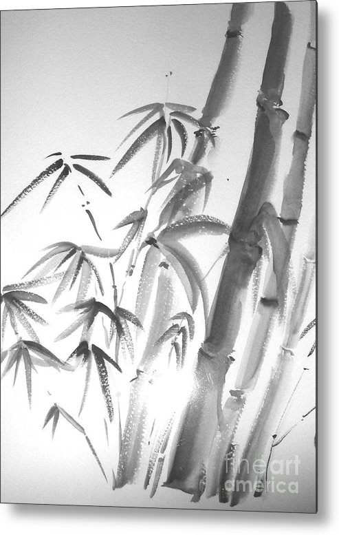 Sumi -e Metal Print featuring the painting Bamboo 2 by Sibby S