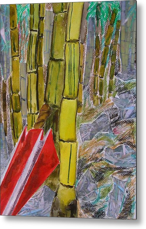 Metal Print featuring the painting Bamboo Forest by Evguenia Men