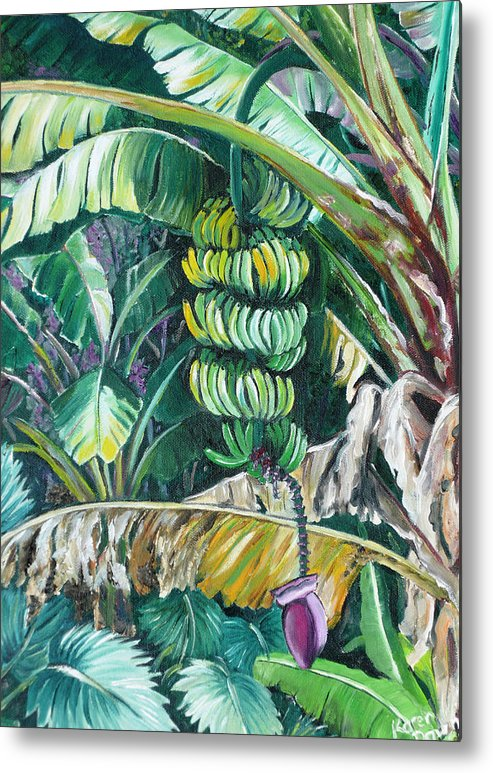 Caribbean Painting Bananas Trees P Painting Fruit Painting Tropical Painting Metal Print featuring the painting Bananas by Karin Dawn Kelshall- Best