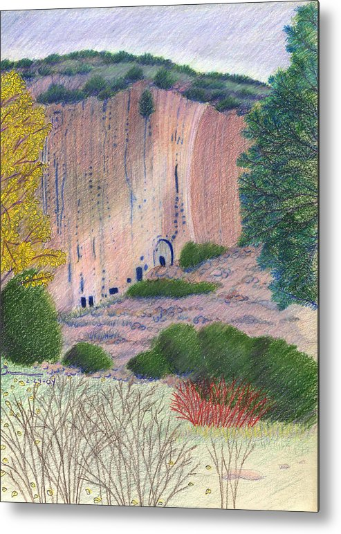 Bandelier National Monument Metal Print featuring the drawing Bandelier 2004 by Harriet Emerson