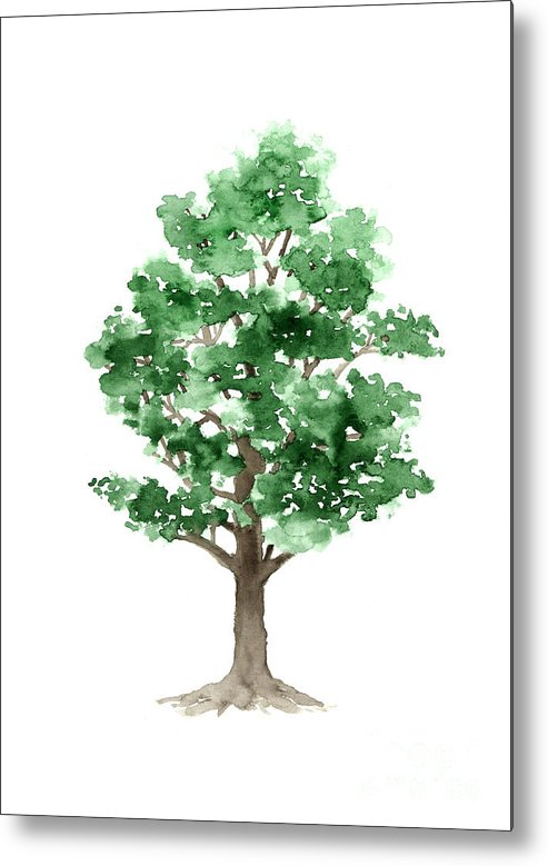 Abstract Metal Print featuring the painting Beech Tree Minimalist Watercolor Painting by Joanna Szmerdt