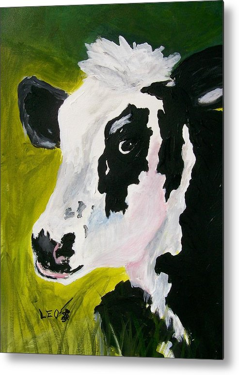 Cows Metal Print featuring the painting Bessy The Cow by Leo Gordon