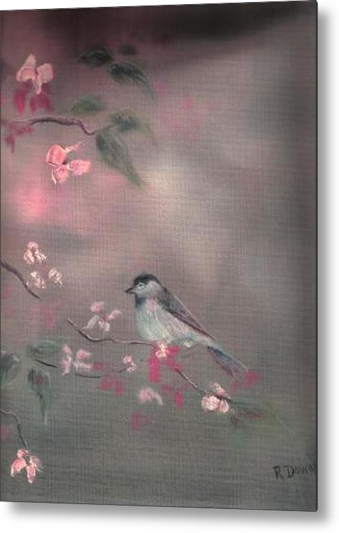 Birds Flowers Nature Wildlife Pets Metal Print featuring the painting Bird Study by Raymond Doward