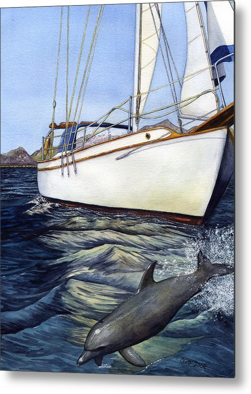 Sailing Metal Print featuring the painting Brief Encounter by Catherine G McElroy