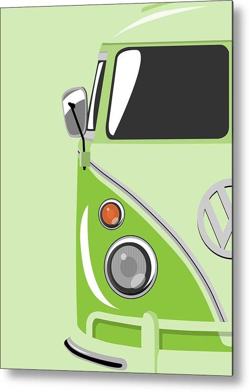 Vw Camper Van Metal Print featuring the digital art Camper Green by Michael Tompsett