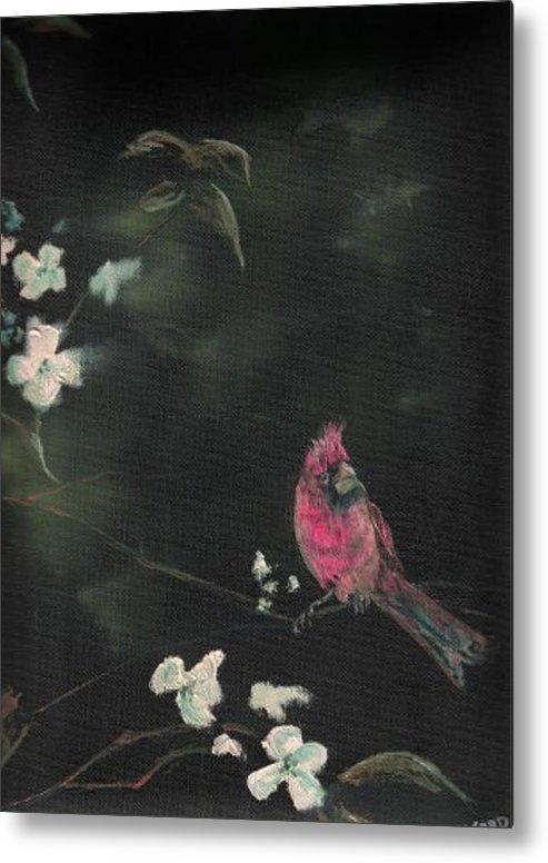 Cardinal Birds Flowers Wildlife Nature Trees Metal Print featuring the painting Cardinal 1 by Raymond Doward