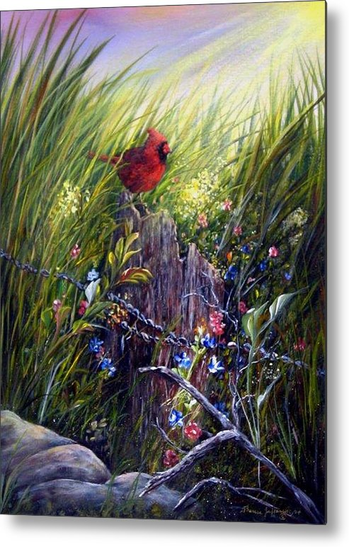 Cardinal Metal Print featuring the painting Cardinal by Theresa Jefferson