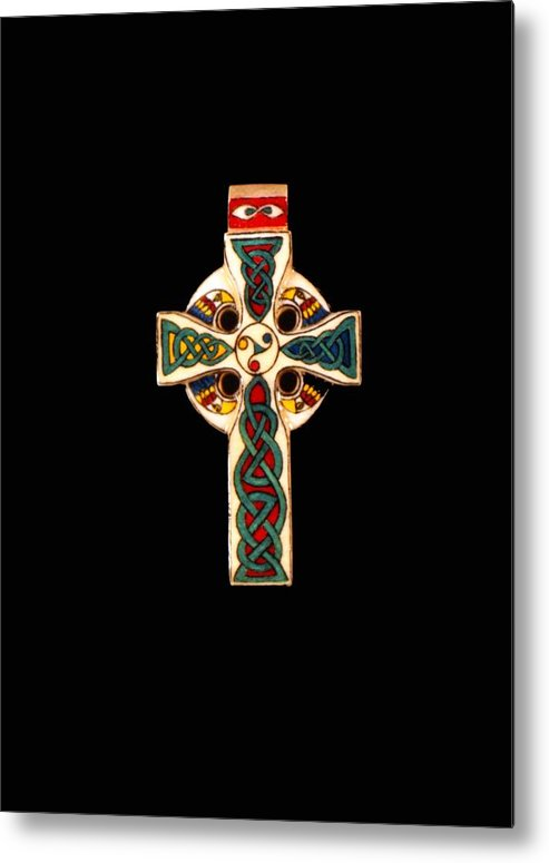Scrimshaw Metal Print featuring the jewelry Celtic Cross by Thomas Burke