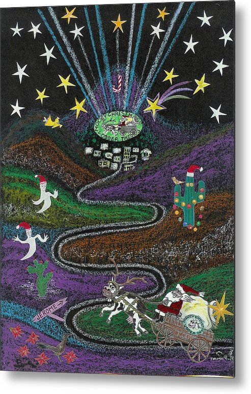 Christmas Metal Print featuring the drawing Christmas In Jerome Az by Ingrid Szabo