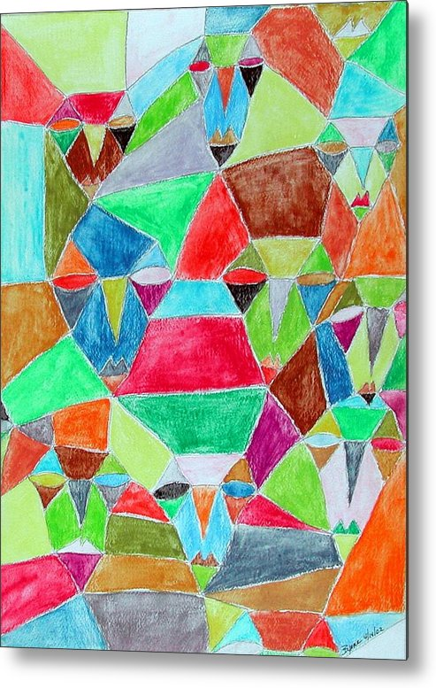 Abstract Metal Print featuring the painting Circle Of Friends by Margie Byrne