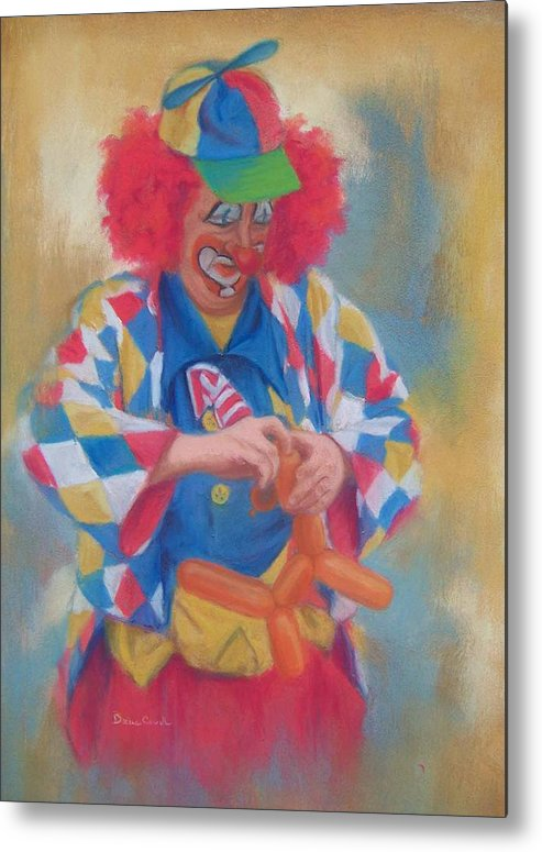 Clown Metal Print featuring the painting Clown Making Balloon Animals by Diane Caudle