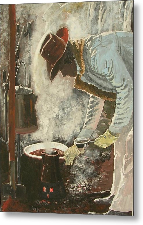 Western/cowboy Metal Print featuring the painting Coffee Break by Janos Szatmari