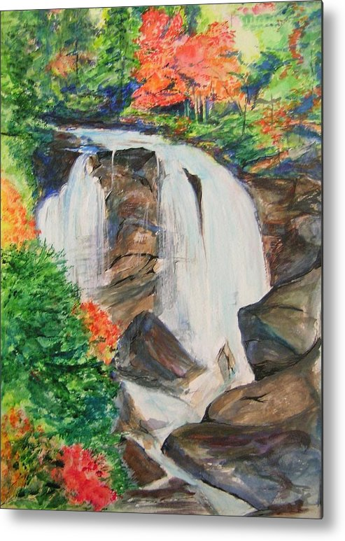 Creek Metal Print featuring the painting Creek In Autumn by Lizzy Forrester