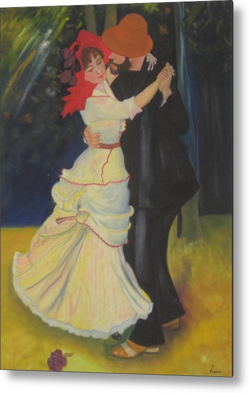 Figure Painting Metal Print featuring the painting Dance At Bougival by AVK Arts