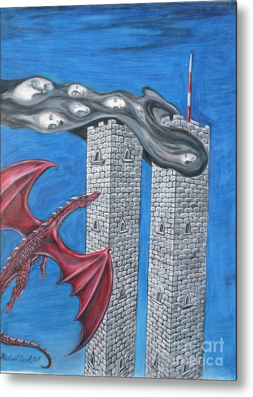 Dragons 911 September Eleventh Twin Towers Metal Print featuring the drawing Dark Age 911 by Michael Cook
